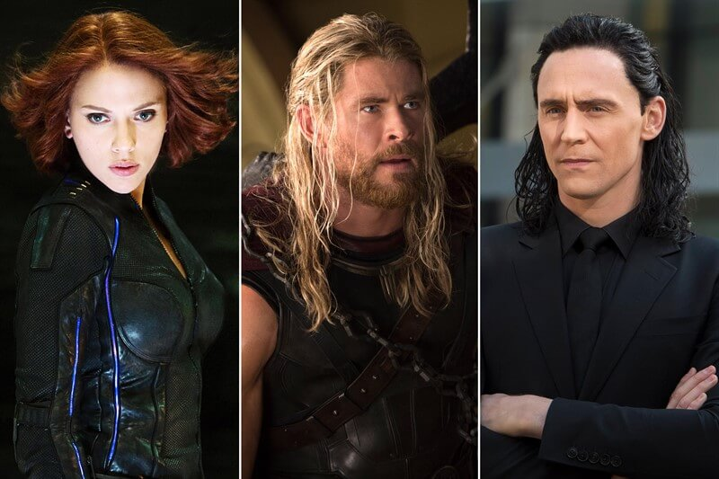 Marvel Spider Woman Thor Loki Scarlett Johansson Chris Hemsworth Tom Hiddleston
